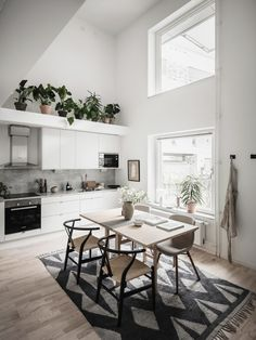 A look at how kitchen design might change post-pandemic with Kate Watson-Smyth. We may see a return to the all-white kitchen which is easy to wipe down and clean but still has minimalist appeal. Open plan studio apartment image via entrancemakleri. Scandinavian Loft, Scandinavian Apartment, Scandinavian Interior Design, Modern Interior, Loft Interior Design, Loft Interiors, Nordic Home, Nordic Kitchen, Duplex