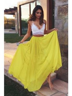 Lace Prom Dresses, Yellow A-line/Princess Prom Dresses, Long Yellow Evening Dresses, 2 pieces prom dress Lace Chiffon V-neck Long Prom Dress Evening Dress Look Boho, Look Chic, Bohemian Style, Bohemian Summer, Gypsy Style, Estilo Hippie, Mode Outfits, Looks Style, Mode Inspiration