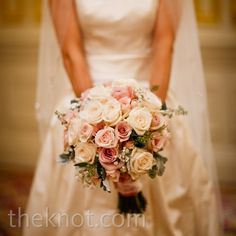 Ivory and Pink Rose Bouquet