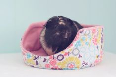 Guinea Pig Cuddle Cup with Absorbent Pad / Guinea Pig Bed / Fleece / Cozy / Size Large / Ultra Absorbent / Hippie Flowers