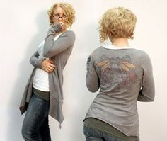 upcycled t-shirt cardigan