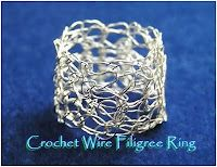 How to Crochet Wire Rings - The Beading Gem's Journal    *** I have done this for a necklace but not a ring! ***