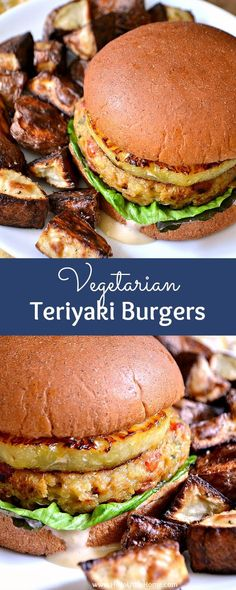 Vegetarian Teriyaki Burgers: this easy vegetarian burger recipe is simply mouthwatering - made with delicious, healthy ingredients like quinoa, chickpeas, veggies, and topped with a slice of juicy pineapple and a simple teriyaki sauce | Hello Little Home