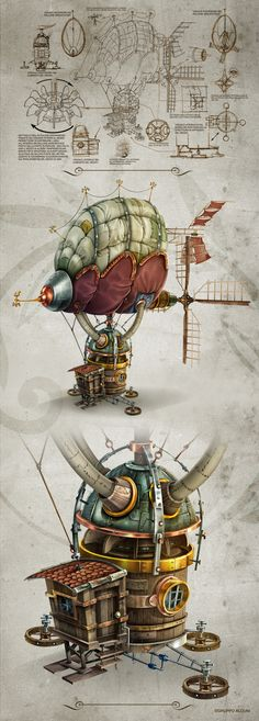 Fascinating drawing of an old time air ship. More