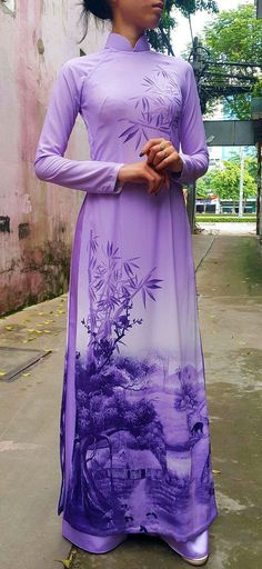 Purple Ao Dai. Vietnamese dress, spectacular rural scene fabric.