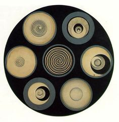 1.)Marcel Duchamp – 2.)Disks Bearing Spirals, 3.)19234.) Style-abstract