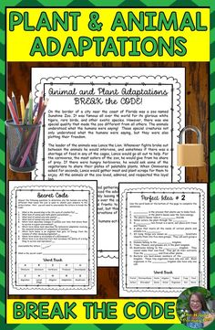 Animal and Plant Adaptations Break the Code Escape Room Break the Code Animal and Plant Adaptations Edition Fun and engaging worksheets and activities for students to rev. Science Vocabulary, Science Resources, Science Lessons, Teaching Resources, Science Ideas, Teaching Ideas, Vocabulary Worksheets, Life Science, Area And Perimeter Formulas