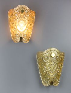 2250 ea Large Orrefors Sconces with Brass Details | From a unique collection of antique and modern wall lights and sconces at https://www.1stdibs.com/furniture/lighting/sconces-wall-lights/
