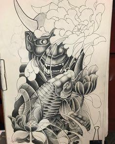 Nenhuma descrição de foto disponível. Asian Dragon Tattoo, Japanese Dragon Tattoos, Japanese Tattoo Art, Japanese Sleeve Tattoos, Japanese Art, Koi Tattoo Design, Tattoo Design Drawings, Samurai Warrior Tattoo, Hannya Mask Tattoo