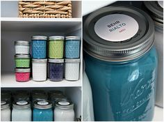 Storing leftover paint in jars. Takes up a lot less space than gallons (which are usually half empty anyway)