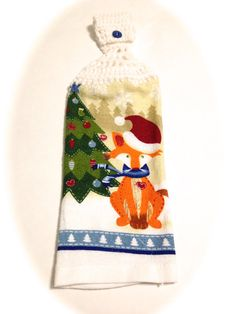 Christmas Fox Hand Towel With White Crocheted by MeAndMomsCrafts