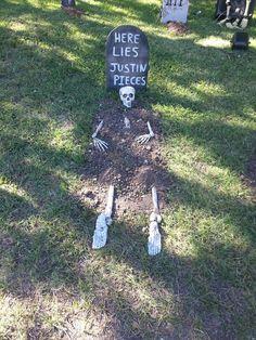 Little bit of halloween humour Halloween Graveyard, Halloween Tombstones, Halloween 2014, Halloween Skeletons, Halloween Birthday, Outdoor Halloween, Halloween House, Holidays Halloween, Halloween Maze