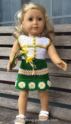 ABC Knitting Patterns - American Girl Doll Fields of Daisies Skirt and Top