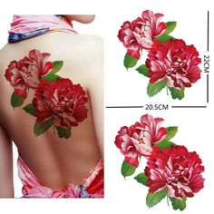 "Extra large size red peony flower temporary tattoos 8.66""x8.07\"" Inches"