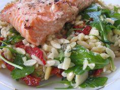 Salmon, arugula, sun friend tomato with orzo pasta