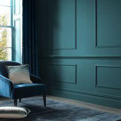 Dulux Paint Colours Living Room, Teal Paint Colors, Living Room Paint, Wall Colors, Teal Rooms, Teal Walls, Teal Bedroom Walls, Dark Teal Bedroom, Indigo Walls