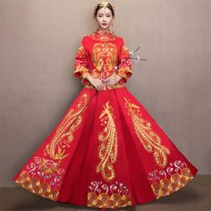 Shop elegant silk cheongsam, traditional Chinese red bridal dresses, sexy modernize Qipao from www.ModernQipao.com. Save 6% by share our products. Double sleeves gold phoenix embroidered red XiuHe traditional mandarin collar Aline Chinese bridal trailing gown
