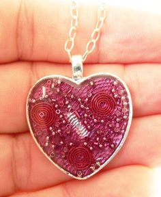 Valentine Heart Orgonite Energy Pendant in by LKSoriginals on Etsy,