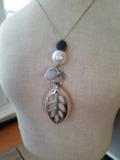 Bellabeat Leaf ACCESSORY Necklace with giant glass white pearl, charcoal stone, Pebble from Carmel California .925 SS by dooglelinhk on Etsy