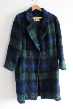 Long Plaid Mohair Wool 60s Coat by LooseGoods on Etsy