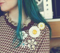 blue hair and daisies