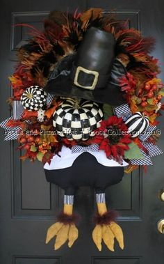 Gobble Gobble Turkey with Black/White Checked Pumpkins-Hat n' Boots Collection Thanksgiving and Fall Thanksgiving Wreaths, Autumn Wreaths, Holiday Wreaths, Thanksgiving Decorations, Halloween Decorations, Fall Decorations, Thanksgiving Art, Fall Crafts, Crafts To Do