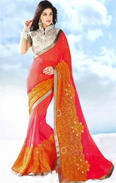 Picture of Charming Tomato and Pale Fuchsia Color Saree