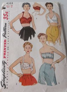 Vintage Simplicity Sewing Patterns 1950s Set of Halter Bra Tops  Model  #4333 Size 18 Bust 36 - Cut by GwensHaberdashery on Etsy