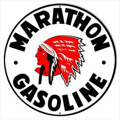 Marathon Indian Gas Station Sign, Aluminum Metal Sign, 3 Sizes Available, USA Made Vintage Style Retro Garage Art by HomeDecorGarageArt on Etsy