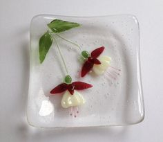 Little Pink & Cream Fuchsia Fused Glass by BlueFairyDesigns