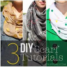 3 simple DIY scarf tutorials Scarf Tutorial, Diy Tutorial, Sewing Crafts, Sewing Projects, Diy Projects, Diy Crafts, Head Scarf Styles, Diy Scarf, Altering Clothes