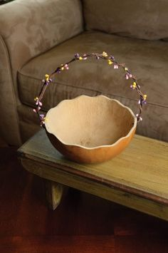 "Retired - This basket is great for sharing your Easter candy, eggs or carrots. The handle is decorated with spring colored berries and the basket has a scalloped edge. This basket is yellow in color and approximately 7"" in diameter."