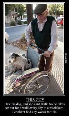 This is how this elderly gentleman walks his lame and aging dog, so sweet