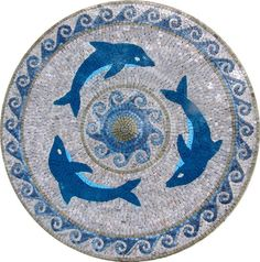 Dolphin Marble Mosaic Medallion Pool Decoration