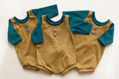 newborn two tone romper (Aaron) - photography prop - teal, old gold, yellow, onesie, outfit, boy by adorableprops on Etsy