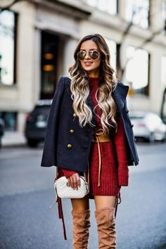 FEBRUARY 21ST, 2017 BY MARIA How I Stay Tan Year Round -Banana Republic Pea Coat // Lovers + Friends Lace-Up Sweater Dress // Nasty Gal Corset Belt // Steve Madden Camel Boots // Gucci Marmont Bag // Le Specs Sunglasses