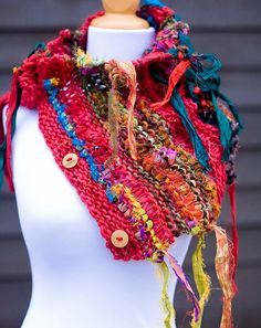colorful hand knit cowl