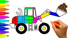 Excavator coloring pages | Learn colors for kids | Construction truck | ...