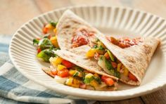 Per Serving:Serving size: 1 quesadilla, 300 calories (110 from fat), 13g total fat, 6g saturated fat, 30mg cholesterol, 630mg sodium, 34g carbohydrate (4g dietary fiber, 6g sugar), 13g protein
