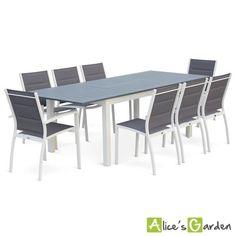 salon de jardin vimara polywood + 8 belles chaises Noir - 8 ...