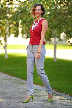 Colors of Love - Simone S. Pants Spotted on a sunny day. Occasion Wear, Special Occasion, Red Blouses, Sunny Days, Creative Design, Sunnies, Overalls, Capri Pants, Street Style