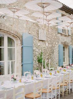 Fairytale-esque white wedding table decor: http://www.stylemepretty.com/2016/08/29/fashionable-destination-provence-wedding/ Photography: Peter & Veronika - http://peterandveronika.com/language/en/
