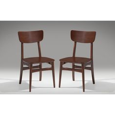 Baxton Studio Netherlands Mid-century Scandinavian Style Dark Walnut Bentwood Dining Side Chair Set (Set of 2)