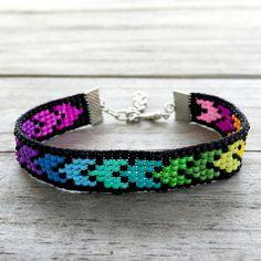 Rainbow Chevron Handmade Beaded Bracelet