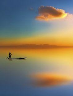 Boat Silhouette, Tinos Island, Greece