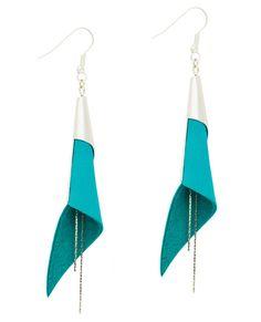 boucles d'oreilles cuir - leather earrings - boucles d'oreille arum - boucles d'oreilles bleu turquoise - bijoux en cuir - Made by S▲R▲Y▲N▲- 28€ www.sarayana.fr