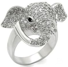 Amazon.com: Womens Rhodium Plated Brass Elephant Ring with Pave Clear Crystals: Jewelry Fashion Rings, Fashion Jewelry, Women's Fashion, Elephant Ring, Elephant Head, Best Engagement Rings, Size 10 Rings, Animal Jewelry, Austrian Crystal