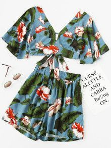 Shop Plunging V-neckline Printed Random Knot Crop Top With Shorts at ROMWE, discover more fashion styles online. Crop Top Outfits, Summer Outfits, Cute Outfits, Summer Dresses, Womens Clothing Stores, Clothes For Women, Women's Clothing, Boho Fashion, Fashion Outfits