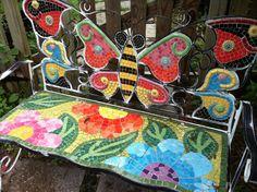 butterfly mosaic art | butterfly mosaic bench