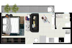Plantas - STUDIO 1 Small Apartment Interior, Small Apartment Design, Basement Apartment, Loft Floor Plans, House Floor Plans, Tiny Apartments, Tiny Spaces, Cabin Design, Tiny House Design